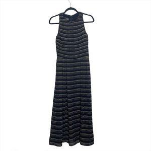 Kay Unger Black Striped MIDI Dress EUC